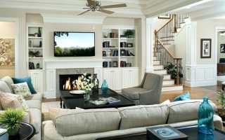 Интерьер с камином и телевизором в обычной квартире