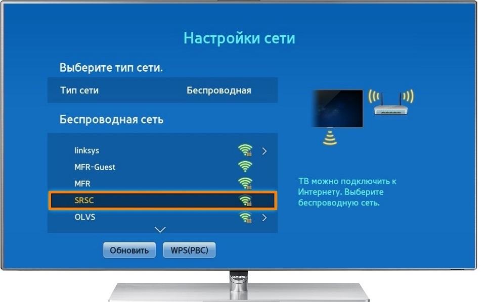 Настройки сети в телевизоре